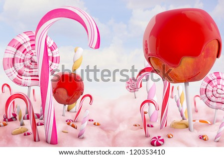 Candy land, high quality 3d render - stock photo