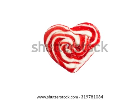 Candy, lollipop heart-shaped red and white - stock photo