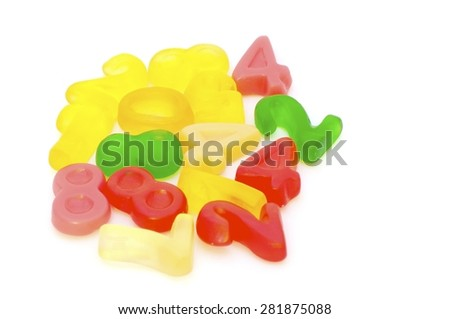 candy numbers,jelly, candy, white, isolated, background, sweet, gummy, color, colorful, food, fruit, snack, red, yellow, delicious, dessert, sugar, texture, green, gelatin, holiday, assortment, tasty, - stock photo