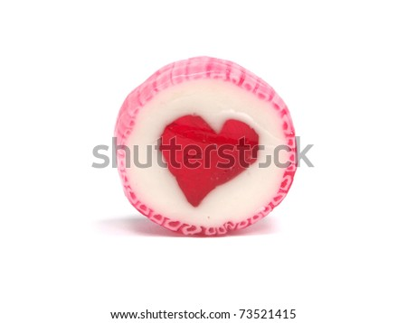 candy with hearth on a white background - stock photo