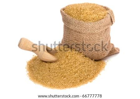 Cane sugar in small burlap sack - stock photo