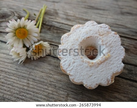 Canestrelli biscuits on wood table. - stock photo