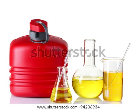 canister and fuel in test tube isolated on white