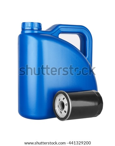 Canister with machine oil and oil filter, isolated on the white background - stock photo
