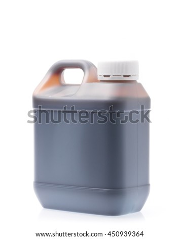 canister with machine oil isolated on white background - stock photo