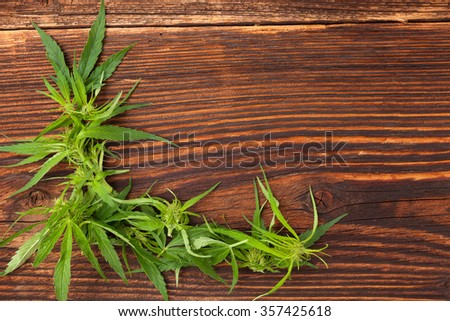 Cannabis buds and foliage on brown wooden table, top view. Medical marijuana, alternative medicine.  - stock photo