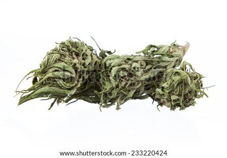 Cannabis dried plant, marijuana on white background - stock photo