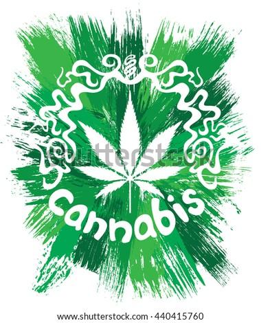 Cannabis white leaf decorative design  - stock photo