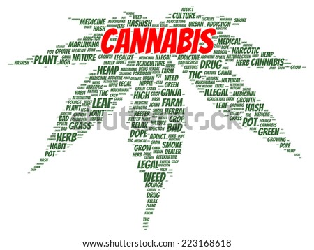 Cannabis word cloud shape concept - stock photo