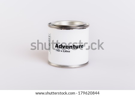 Canned adventure with white background.
