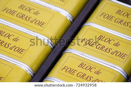 Canned Blocs of Goose Liver Paté or Foie Gras d'Oie on a Local Market