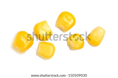 canned corn on a white background - stock photo