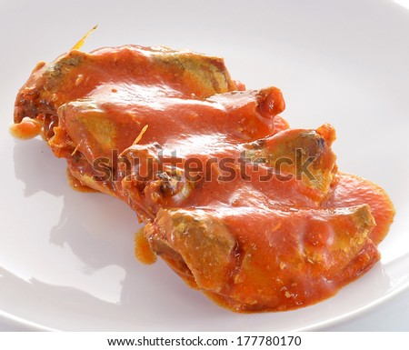 canned fish in tomato sauce - stock photo