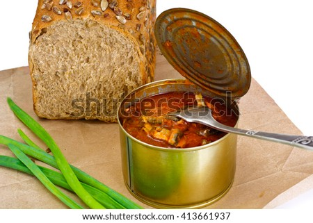 Canned Fish Sprat in Tomato Sauce Studio Photo