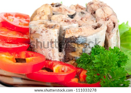 Canned fish with vegetables - stock photo