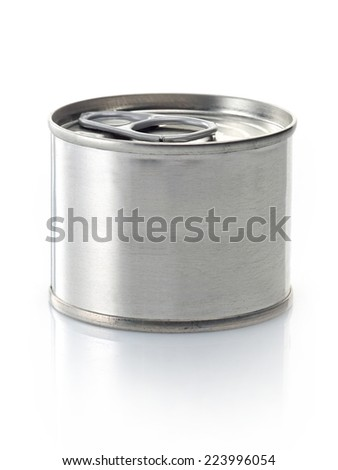 canned food tin isolated on a white background - stock photo