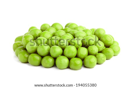 Canned green peas isolated on a white background. - stock photo