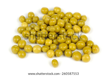 Canned Green Peas Isolated on White Background