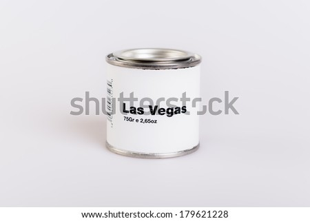 Canned Las vegas with white background.