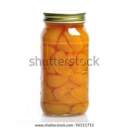 Canned Mandarin Oranges In A Glass Jar
