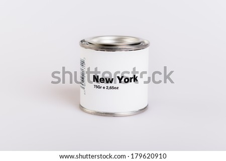 Canned new york with white background.