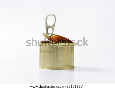 canned pate on white background