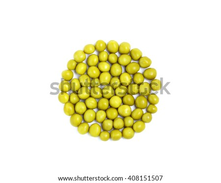 Canned peas in the shape of a circle isolated on white background.