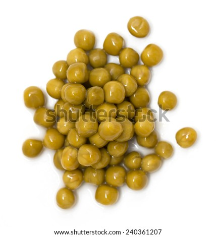 canned peas on a white background