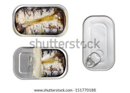 canned sardines in olive oil isolated on white - stock photo