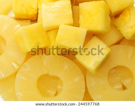 Canned slices pineapple, macro view - stock photo