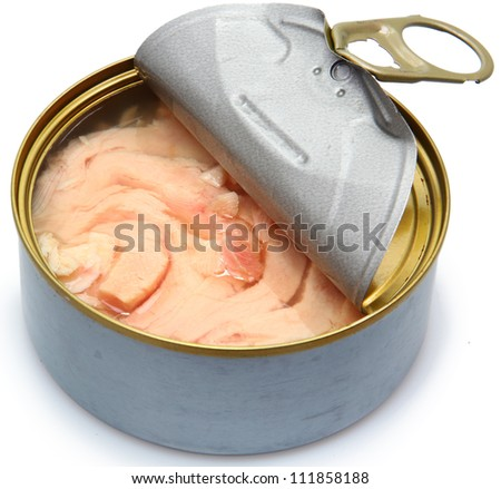 Canned soy free albacore white meat tuna packed in water. - stock photo