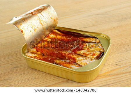 Canned sprats in tomato sauce, can opened