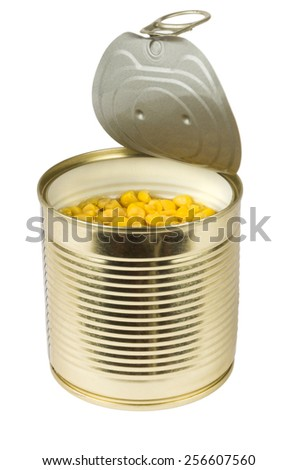 Canned sweet corn isolated on white background - stock photo