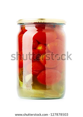 Canned Tomatoes in Glass Jar