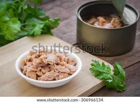 Canned tuna fish in bowl  - stock photo