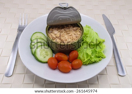Canned tuna served on dish with salad for the concept of quick meal or healthy food (omega-3) - stock photo