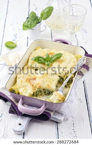 Cannelloni Ricotta e Spinaci - stock photo