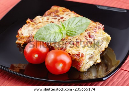 Cannelloni with chicken and mushrooms - stock photo
