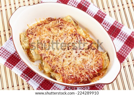 Cannelloni with chicken and mushrooms, baked in tomato sauce and cheese - stock photo