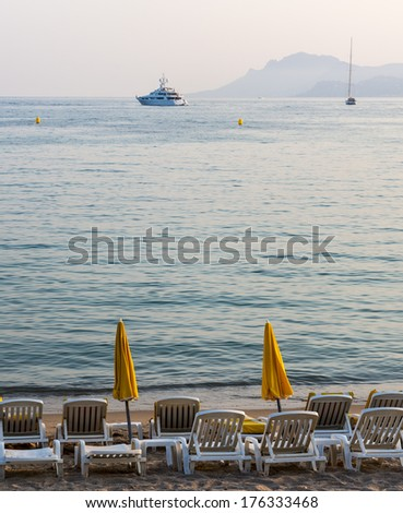 Cannes (Alpes-Maritimes, Provence-Alpes-Cote d'Azur, France): the beach at evening - stock photo