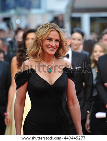 "CANNES, FR - MAY 12, 2016: Actor Julia Roberts at the gala premiere for ""Money Monster"" at the 69th Festival de Cannes."