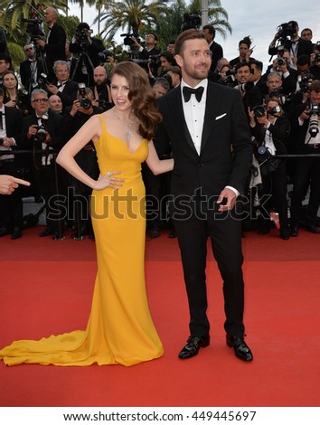 "CANNES, FR - MAY 11, 2016: Actress Anna Kendrick & actor/singer Justin Timberlake at the gala premiere of Woody Allen's ""Cafe Society"" at the 69th Festival de Cannes."