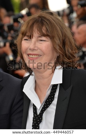 "CANNES, FR - MAY 11, 2016: Actress Jane Birkin at the gala premiere of Woody Allen's ""Cafe Society"" at the 69th Festival de Cannes."