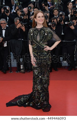 "CANNES, FR - MAY 11, 2016: Actress Julianne Moore at the gala premiere of Woody Allen's ""Cafe Society"" at the 69th Festival de Cannes."