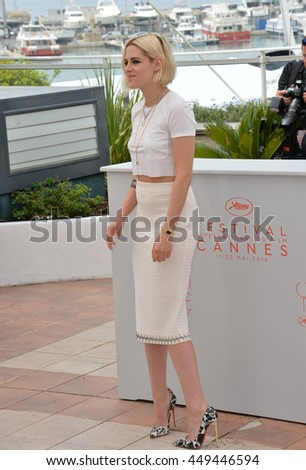 "CANNES, FR - MAY 11, 2016: Actress Kristen Stewart at the photocall for ""Cafe Society"" at the 69th Festival de Cannes."
