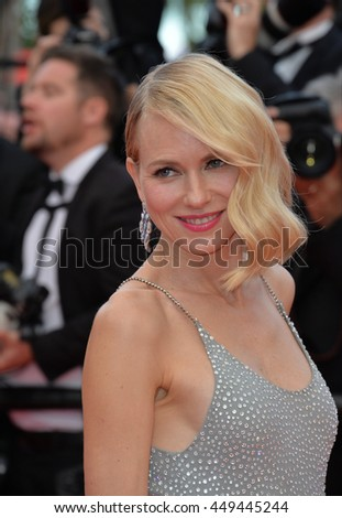 """CANNES, FR - MAY 12, 2016: Actress Naomi Watts at the gala premiere for """"Money Monster"""" at the 69th Festival de Cannes. - stock photo"""