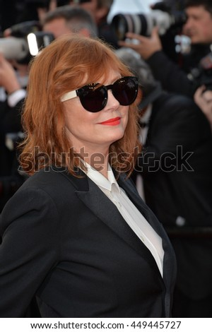 "CANNES, FR - MAY 11, 2016: Actress Susan Sarandon at the gala premiere of Woody Allen's ""Cafe Society"" at the 69th Festival de Cannes."