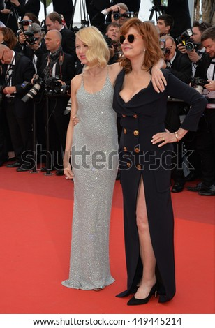 """CANNES, FR - MAY 12, 2016: Actresses Naomi Watts & Susan Sarandon at the gala premiere for """"Money Monster"""" at the 69th Festival de Cannes. - stock photo"""