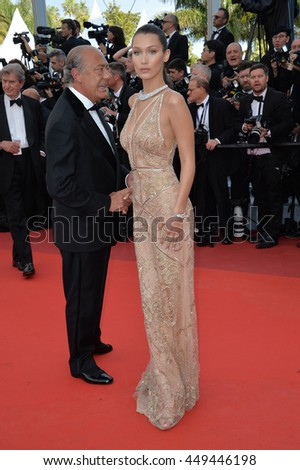 "CANNES, FR - MAY 11, 2016: Model Bella Hadid at the gala premiere of Woody Allen's ""Cafe Society"" at the 69th Festival de Cannes."