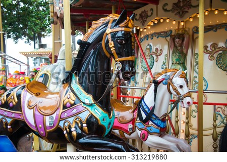 Horses On Merry Go Round Stock Photo 102350716